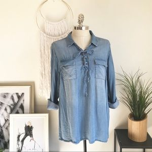 Chambray lace up top.
